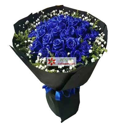 有了你我的世界如此浪漫/21支蓝玫瑰宝坻花为媒花店