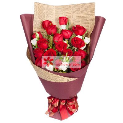 天津百合塘沽店19支红玫瑰,冲动的爱情