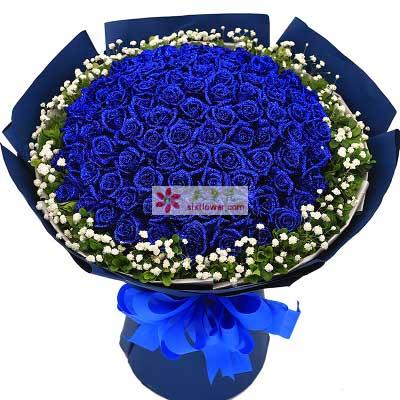 深圳花满楼龙华龙岗店爱的长河/99支蓝色玫瑰
