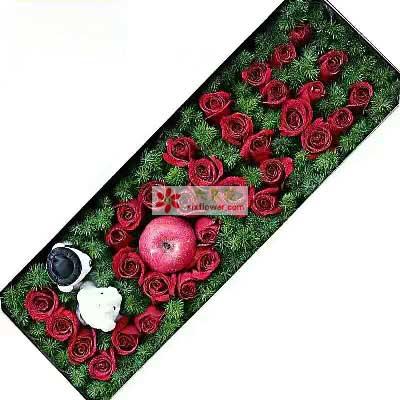 爱你就是我的幸福/39支红色玫瑰礼盒苹果花慢生活