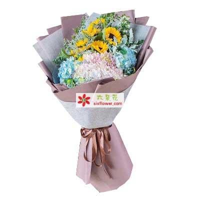 花无缺XIAN花店幸福/11支向日葵绣球花