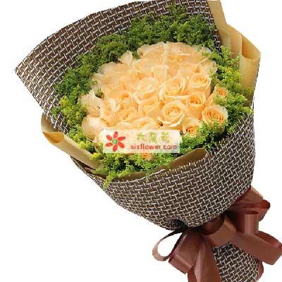 丁字沽鲜花店对你情不变/33支香槟玫瑰