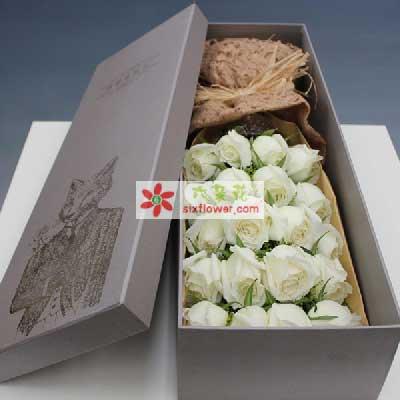 惠州千彩花店我一生期盼/33支白玫瑰