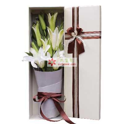 上海连心缘鲜花很想你要开心/4支多头百合礼盒