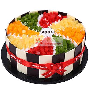 生日快乐/8寸水果奶油蛋糕君钰鲜花蛋糕店