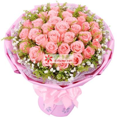 金灵鲜花店快乐爱人/33枝粉玫瑰