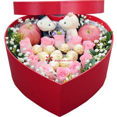 长盼共花前/11枝玫瑰巧克力礼盒青年城花芊谷