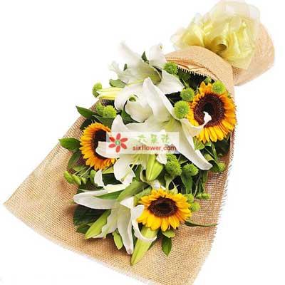 喜悦/3支向日葵3支百合樟木头花坊