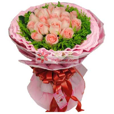 幸福花艺幸福属于我们/19支戴安娜粉玫瑰