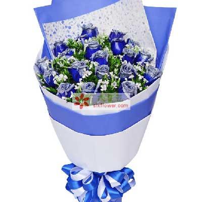 上海花姑子你是我最大福气/19枝蓝色玫瑰
