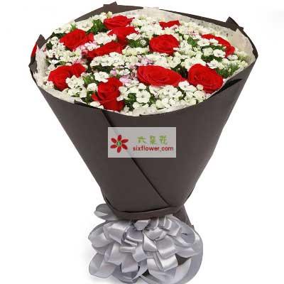 温暖的祝福/11支红玫瑰幸福花艺