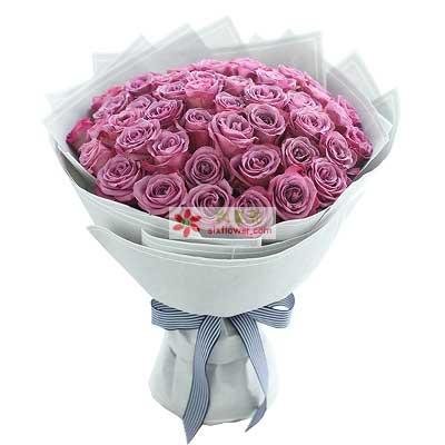 浪漫的爱的世界/50支紫色玫瑰玫瑰花园(鼓浪路店)