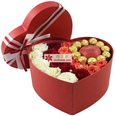19支玫瑰巧克力,苹果礼盒装,一生幸福青岛胶州卉蕾鲜花店