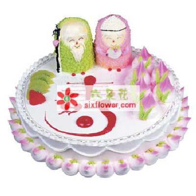 武汉绮梦鲜花寿星/8寸祝寿蛋糕