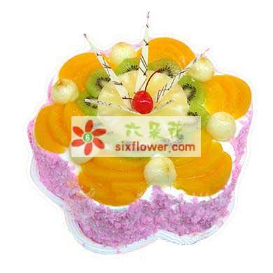 北京花道佳温暖与你同在/8寸鲜奶水果蛋糕