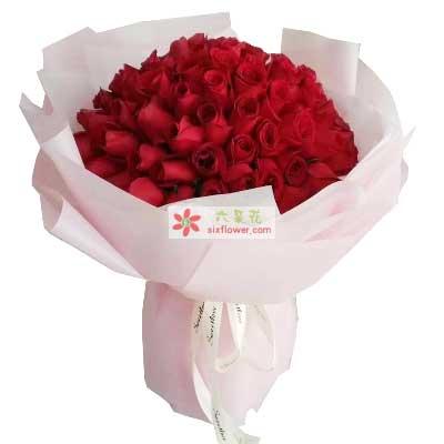 日日夜夜牵手共度/99支红色玫瑰唯美花艺