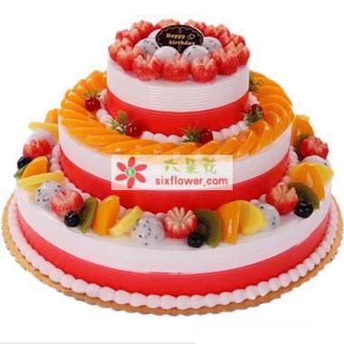 生日的光芒/三层圆形鲜奶水果蛋糕百年好合花艺