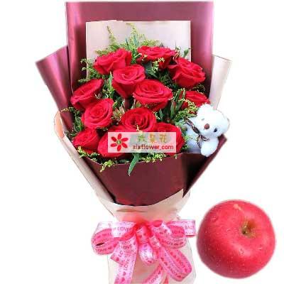 今生的缘分/11枝红玫瑰苹果幸福湾鲜花批发部