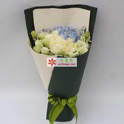 我的爱/9支白玫瑰,蓝色绣球花搭配桔梗花如语花坊