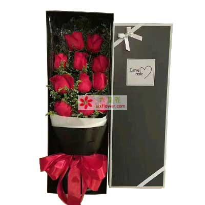 幸福花艺愿我最爱的人幸福/11支红色玫瑰礼盒