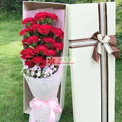 感谢有您/18支红色康乃馨礼盒深圳花满楼龙华龙岗店