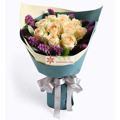 鄞州区友好鲜花爱情的承诺/11枝香槟玫瑰