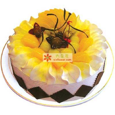 阎良区蔷薇花艺温暖的天空/圆形水果蛋糕