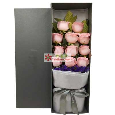 心雨花行心心相印永不渝/11枝粉色玫瑰礼盒