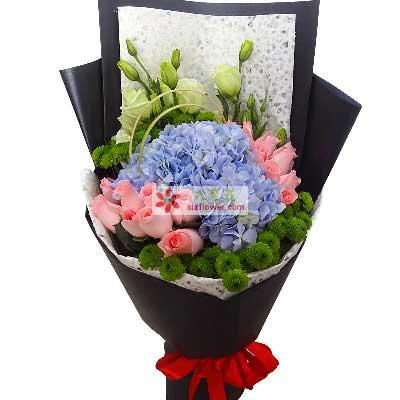 花与礼物永恒之心/16支粉玫瑰,2只蓝色绣球花