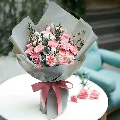 上海常青藤花店遥远的爱/16支粉色康乃馨,5支香槟玫瑰