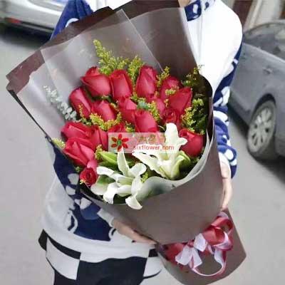 武清花无缺18支红色玫瑰/情人节快乐