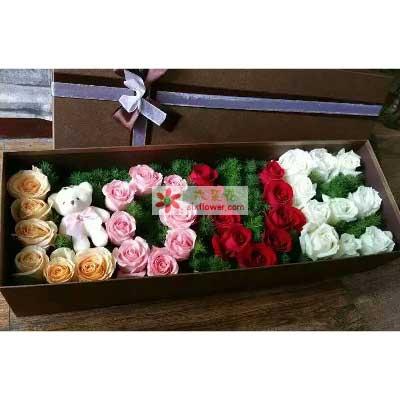 你懂吗/33支玫瑰礼盒装幸福湾花艺