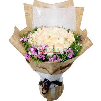 天津滨海新区玫瑰鲜花蛋糕33支香槟玫瑰/你是我的阳光