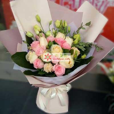 西安蓝岛花卉快乐幸福永伴一生/18支玫瑰
