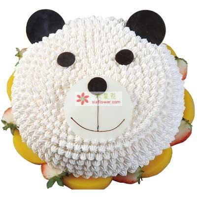 小惊喜/8寸小熊猫鲜奶蛋糕大连香朵花艺