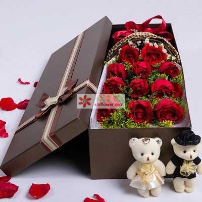 11支红玫瑰/浪漫礼盒幸福花艺