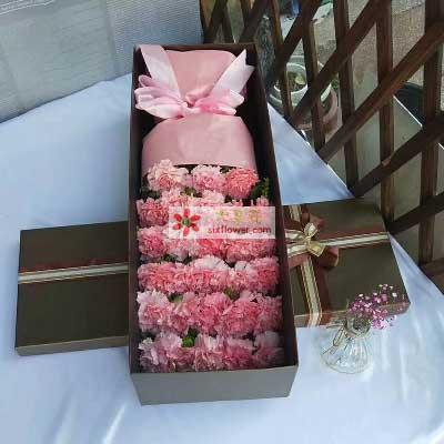 无私的关爱/26支粉色康乃馨礼盒天津百合塘沽店