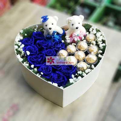 愿一生有你/11支蓝色玫瑰,9颗巧克力岳麓区青青花屋