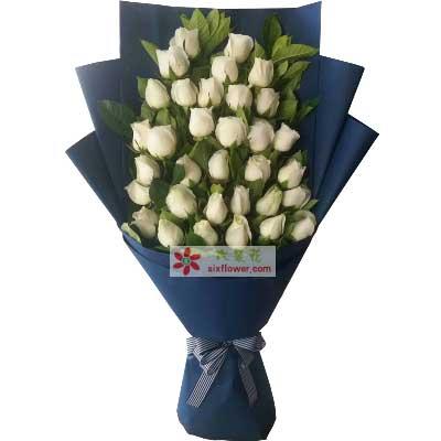 奇葩鲜花真的好想你/33支白玫瑰