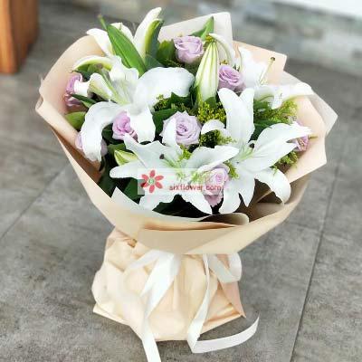9支紫玫瑰/对你的爱一生不变百年好合花艺