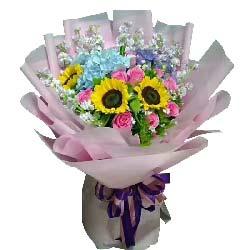 惦念/3枝向日葵,9枝戴安娜玫瑰,1只蓝色绣球花