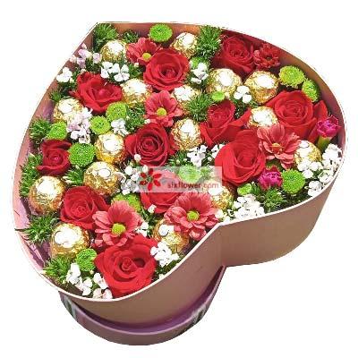 甜蜜爱情/11支红色玫瑰礼盒巧克力望城兰亭花坊