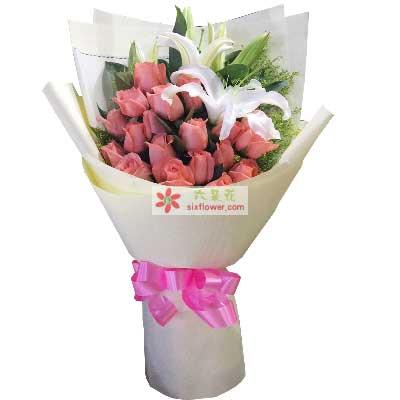 你是我的心上人/19支艳粉玫瑰百合奇葩鲜花