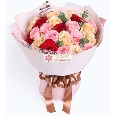 愿陪着你白发苍苍/29支玫瑰汉沽喜洋洋鲜花店