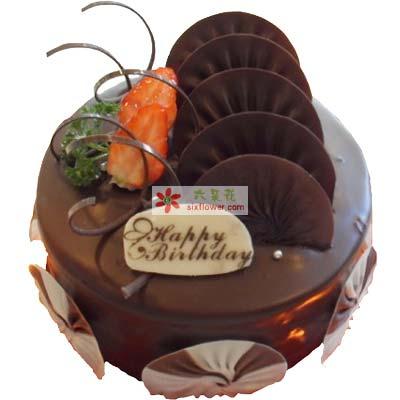 美丽人生/8寸圆形巧克力蛋糕锦官城花艺