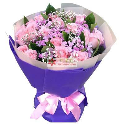 与你携手到老/21支粉玫瑰辽宁大连瓦房店永远鲜花蛋糕