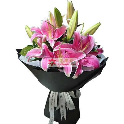 果然有花温馨与幸福/8支粉色多头百合