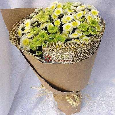雏菊一大扎,心灵的吻合花蜜花艺鲜花店