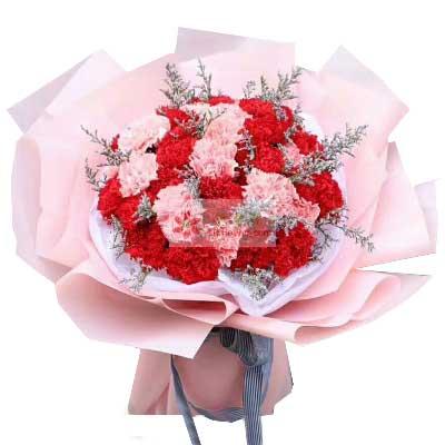 大邑县兰心花艺30朵康乃馨花束,祝您精彩每一天