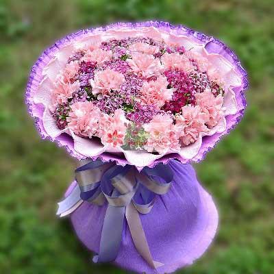 强子花店16朵粉色康乃馨,我爱您!